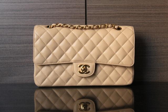 9cc90978ec74 BNIB Beige Chanel Caviar Classic Flap in Medium with GHW | The ...